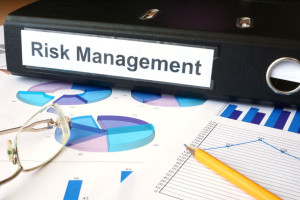 38737386 - graphs and file folder with label risk management.
